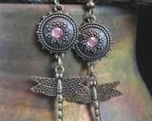 Long Antique Brass and Czech Glass Dragonfly Earrings