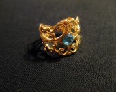 Adjustable Gold Filigree and Azure Swarovski Crystal Ring