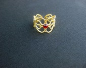 Golden Heart Filigree and Crimson Swarovski Crystal Adjustable Ring