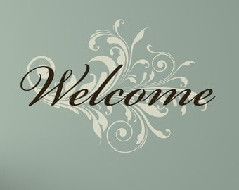 Welcome with Damask Swirl Wall Decal