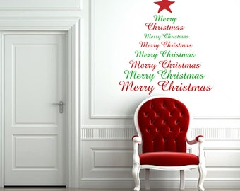 Christmas Tree Wall Decal Merry Christmas Tree