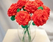 Red Handmade Paper Flowers Bouquet (12 Long-stem)