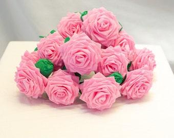 Paper Flowers Bouquet - Dozen (12) Long-stem Pink