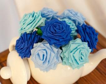 Paper Flowers Bouquet - 9 Short Stem Mixed Blue