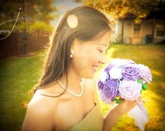Wedding Bridal  Bouquet -  16 Long-stem Paper Flowers (You Choose Colors)
