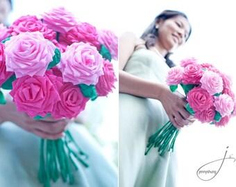 Wedding Paper Flower Bouquet (20 flowers - you choose colors) Bridal Handmade