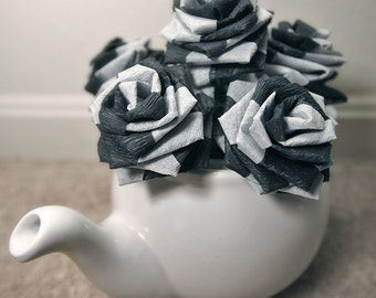 Paper Flowers Bouquet - 6 Short-stem Black and White Swirl