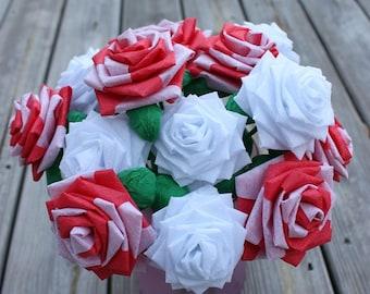 Paper Flowers Bouquet - Dozen (12) Long-stem Candy Cane
