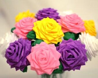 Paper Flower Bouquet - Dozen (12) Long-stem Mixed Colors (Spring)