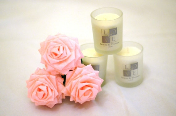 Paper Flowers Bouquet - 3 Short-stem Pale Pink Handmade