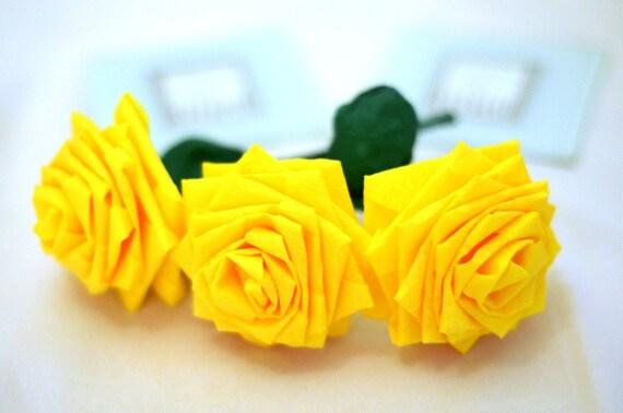 Yellow Handmade Paper Flowers Bouquet (3 Short-stem)