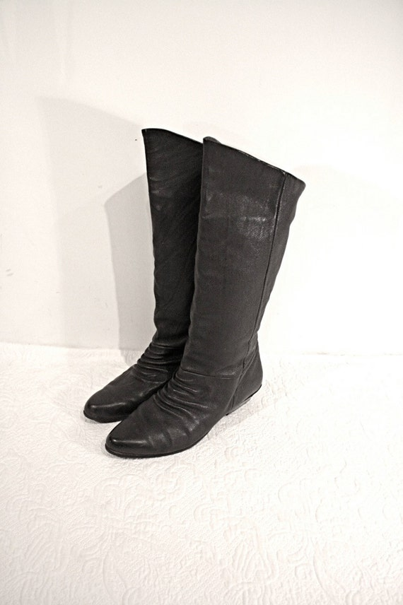 boots high calf pirate black leather size 8