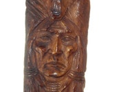 Hand carved aged bone Native American with Bear Cabochon BO9695