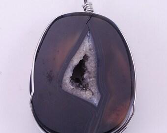 Wire wrap black agate druzy BH1S139891