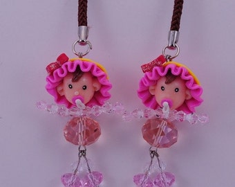 Cute Baby Girl with Pink Hat Handmade Fimo polymer clay with  Czech Glass Cell Phone Strap Set of 2 pcs