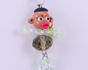 Little Boy with earrings Handmade Fimo polymer clay with  Czech Glass Cell Phone Strap Set of 2 pcs