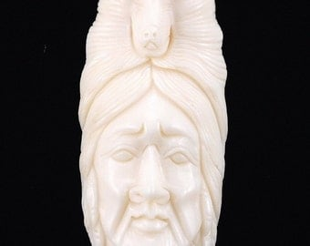 Hand carved bone Man with Wolf B5BO121
