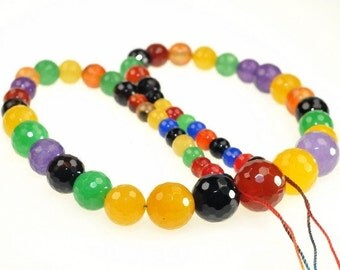 Playful Candy Agate Faceted Round beads full strand 16.5 inches LB1689