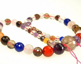 Unique Fancy Agate Faceted Round beads full strand 16.5 inches LB1685