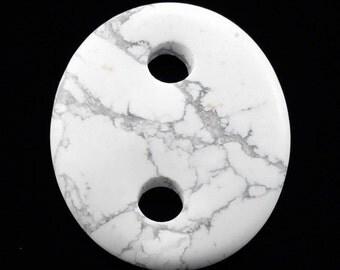 Howlite 2 hole Oval Donut Pendant Bead B38ST1646