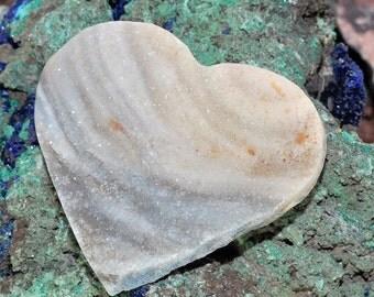 Amazing Heart Shaped Brazilian Chalcedony Druzy Cabochon J13B7161
