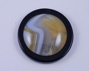 Stripe Agate and Black Onyx Intarsia pendant bead G1S139637
