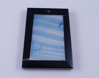 Blue Stripe Agate and Black Onyx Intarsia pendant bead G1S139670