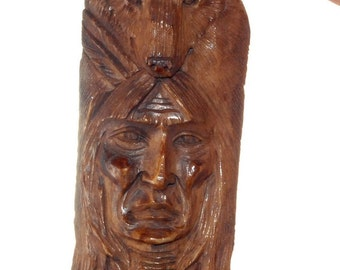 Hand carved aged bone Native American with Bear Cabochon BO9688