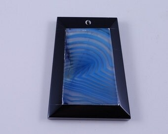 Blue Stripe Agate and Black Onyx Intarsia pendant bead G1S139662