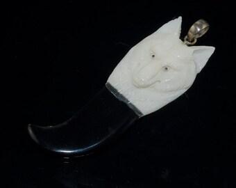 Unique Hand carved bone Wolf pendant bead B3BO61