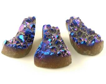 3 pieces Blue/ Purple Druzy pendant bead Set B14DR8045