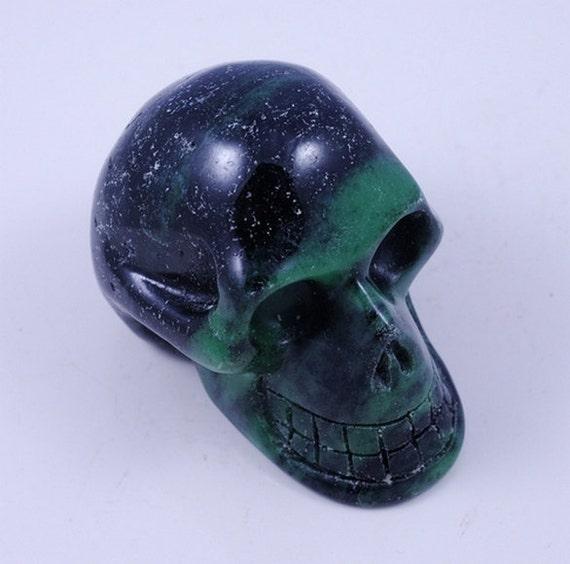 Hand carved Huge Ruby Zoisite Skull Head Carving JA9B7686