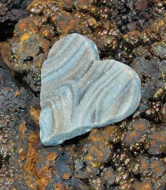 Amazing Heart Shaped Brazilian Chalcedony Druzy Cabochon J13B7470