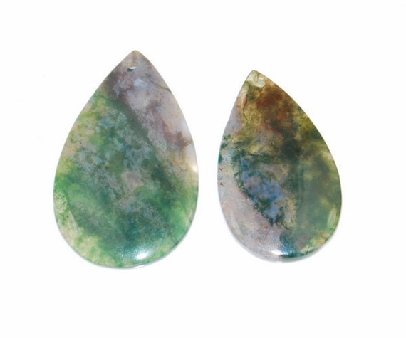 2 pieces Moss Agate pendant bead J12B167175