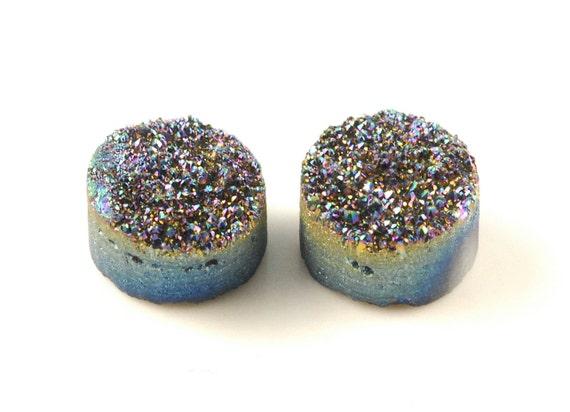 2 Pieces Rainbow Titanium Round Calibrated Druzy Agate Cabochon B22DR8145