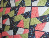 SALE Crazy quilt with peace sign backing