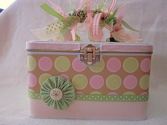 Sweet Baby Girl Gift Tin Keepsake Pink and Green