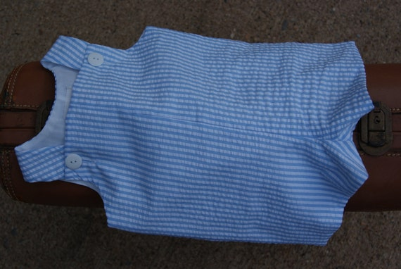 Size Infant 3 Months Baby Boy Shortall Romper Seersucker Stripe Blue