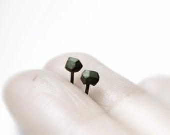 Black rocks - faceted oxidized silver earrings - faceted oxidized sterling silver stud earrings - minimalist studs
