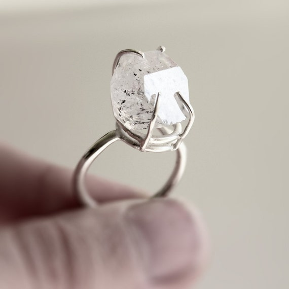 The Rock . herkimer diamond sterling silver ring