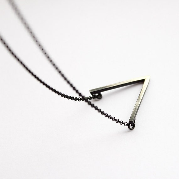 V . oxidized sterling silver necklace with oxidized pendant