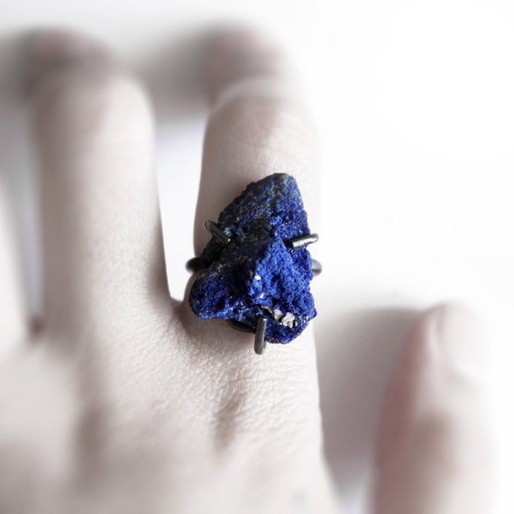 Deep . oxidized sterling silver deep blue azurite ring