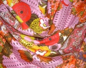 Remnant--Pink with Orange Exotic Print Cotton and Silk Voile Fabric--2 Yards