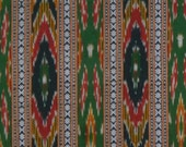 SPECIAL--Black Red and Green Ikat and Dobby Weave Cotton Fabric--One Yard