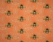 Peach Bumble Bee Print Cotton Fabric--One Yard