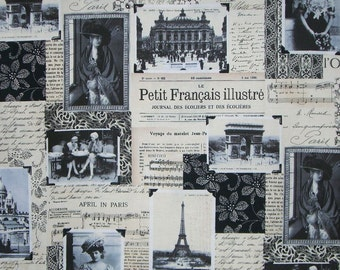 April in Paris Vintage Collage Print Cotton Fabric--By the Yard
