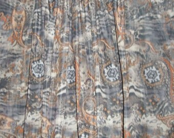 SPECIAL--Gray and Melon Paisley Warp Print Italian Taffeta Fabric-One Yard
