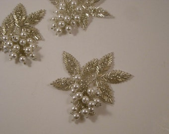 Silver and Pearl Chunky Leaf Design Beaded Applique--One Piece