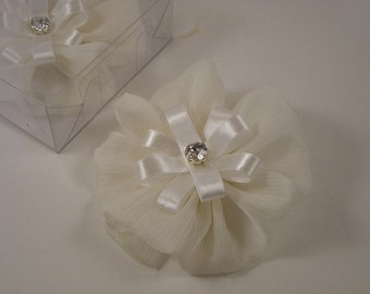 Ivory Chiffon Flower with Rhinestone--One Piece