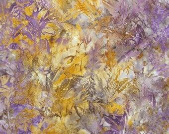 Purple and Mustard Batik Cotton Fabric-- One Yard
